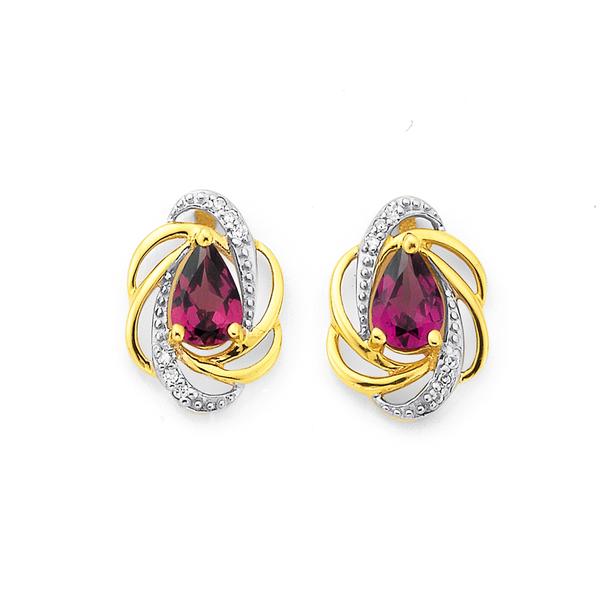 9ct Rhodolite Garnet & Diamond Earrings