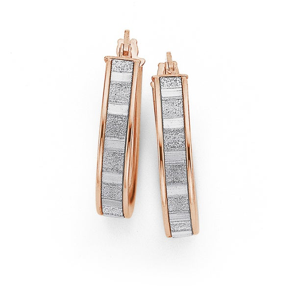 9ct Rose Gold 15mm Stardust Hoops