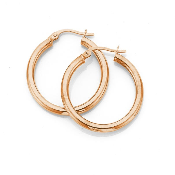 9ct Rose Gold 25mm Hoops