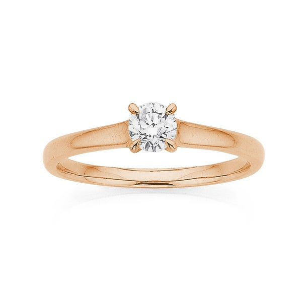9ct Rose Gold .35ct Diamond Solitaire Ring