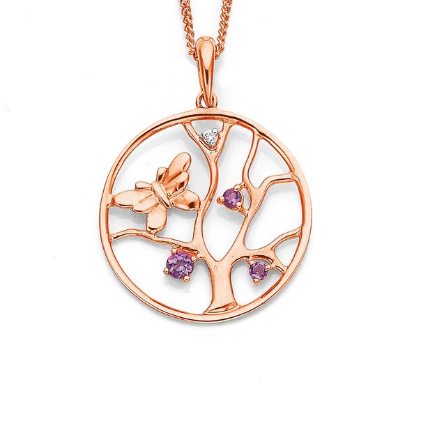 9ct Rose Gold Diamond & Amethyst Butterfly Pendant
