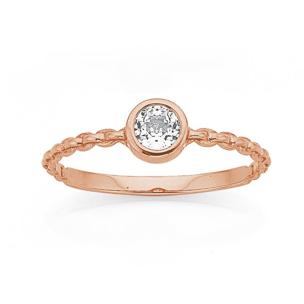 9ct Rose Gold Diamond Cubic Zirconia Chain Link Ring