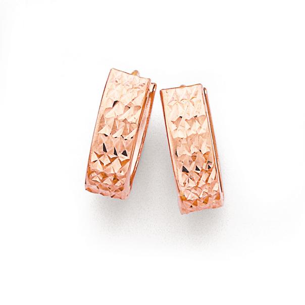 9ct Rose Gold Diamond Cut Huggie Earrings