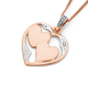 9ct Rose Gold Diamond Double Heart Pendant