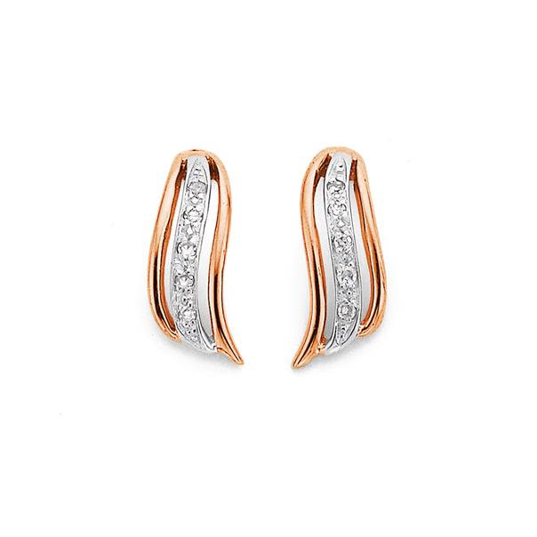 9ct Rose Gold Diamond Earrings