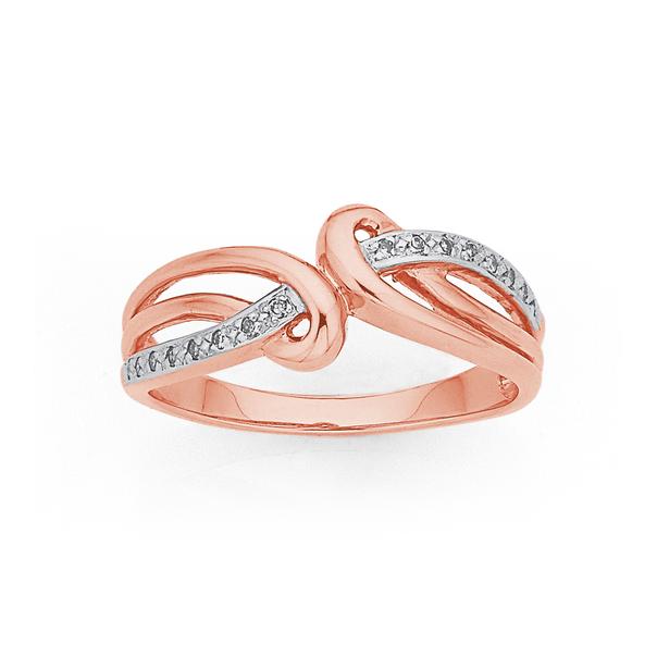 9ct Rose Gold Diamond Loops Swirl Ring