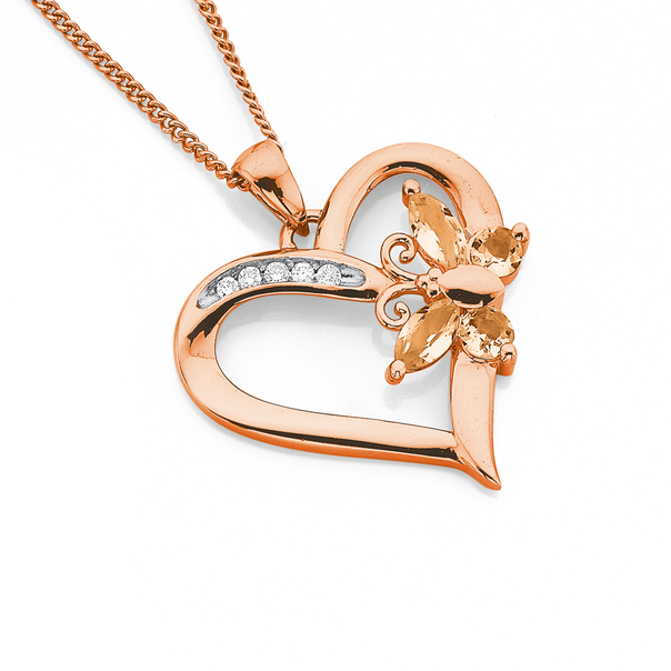 9ct Rose Gold Diamond & Morganite Butterfly Pendant