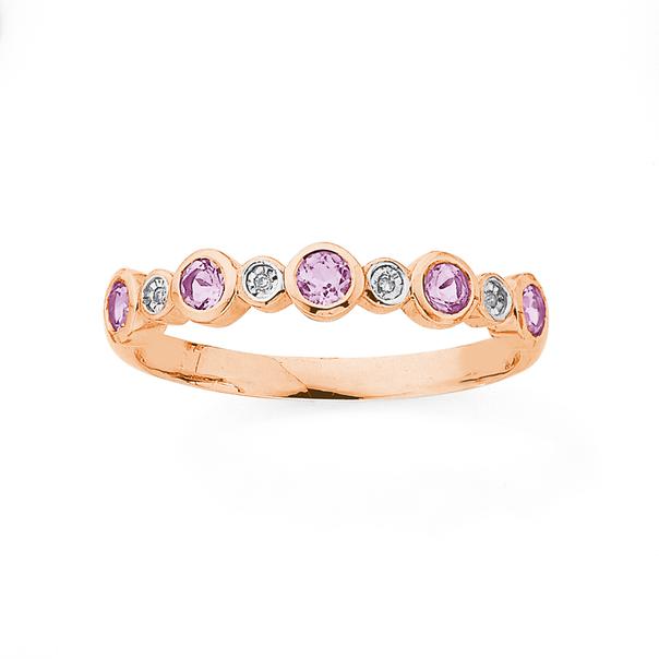 9ct Rose Gold Diamond & Pink Amethyst Multi Band Ring