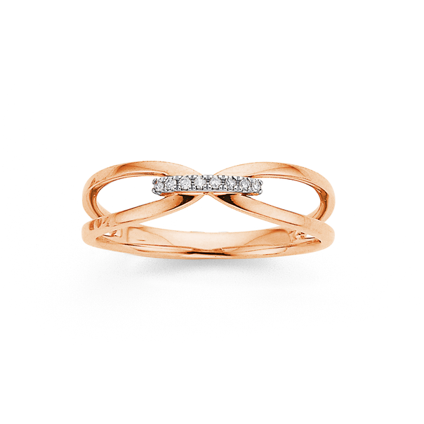 9ct Rose Gold Diamond Row Crossover Ring