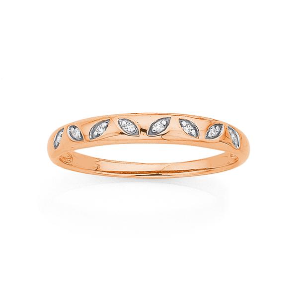 9ct Rose Gold Diamond Set Leaf Ring
