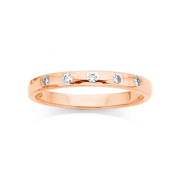 9ct Rose Gold Diamond Set Ring TDW=.15ct