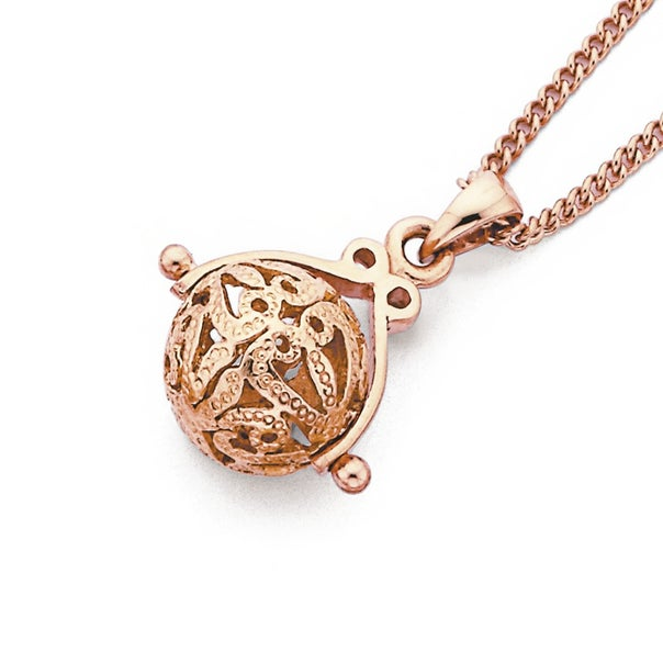 9ct Rose Gold Spinning Ball Pendant