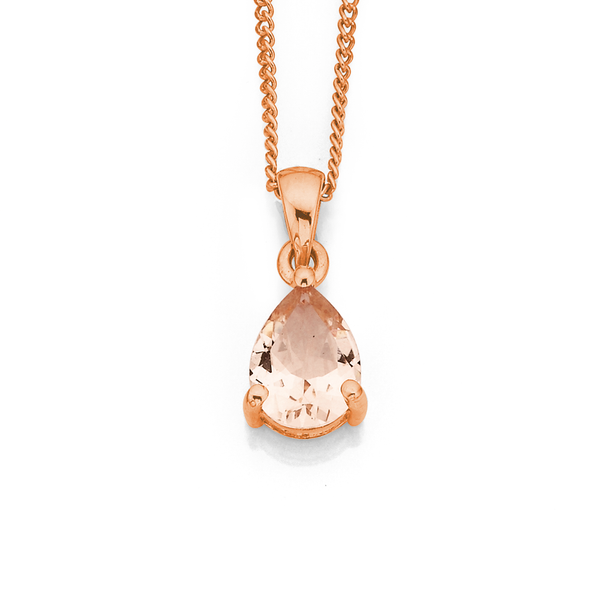 9ct Rose Gold Morganite Pear Shaped Pendant