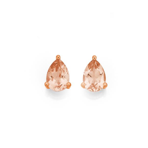 9ct Rose Gold Morganite Pear Shaped Studs
