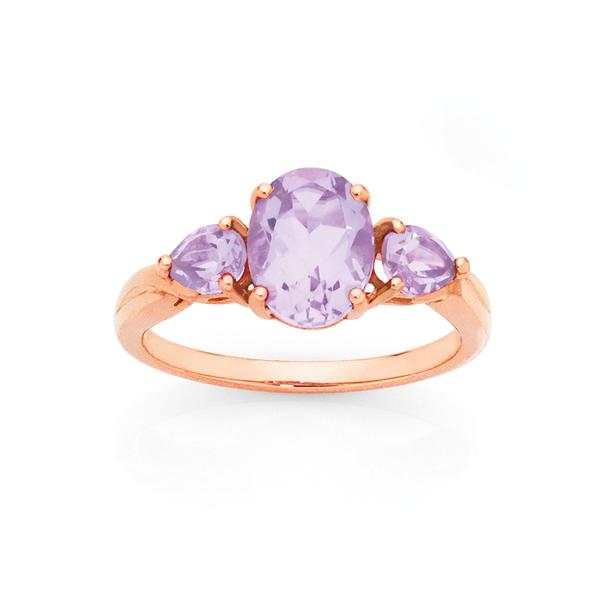 9ct Rose Gold Pink Amethyst Ring