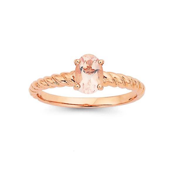 9ct Rose Gold Rose Quartz Twist Ring