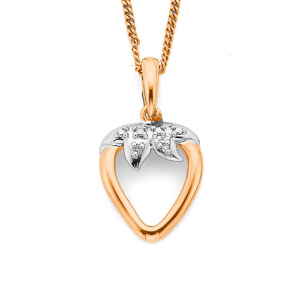 9ct Rose Gold Strawberry Diamond Set Pendant
