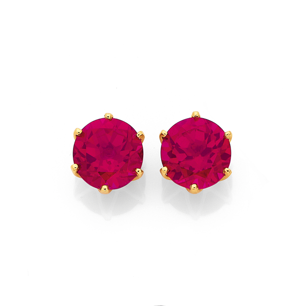 9ct Round Created Ruby Stud Earrings