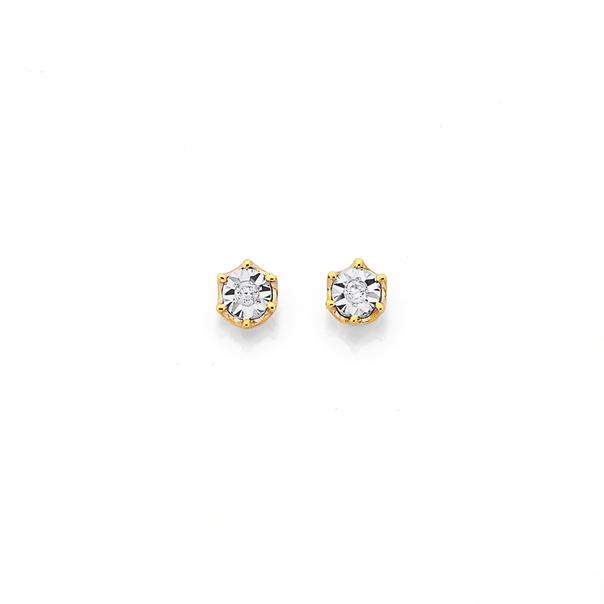 9ct Round Diamond Stud Earrings