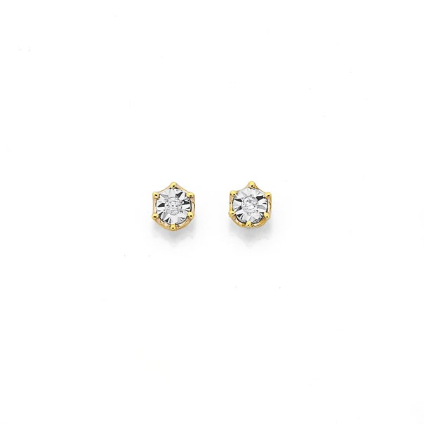 9ct Round Diamond Stud Earrings