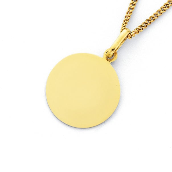 9ct Round Engravable Disc Pendant