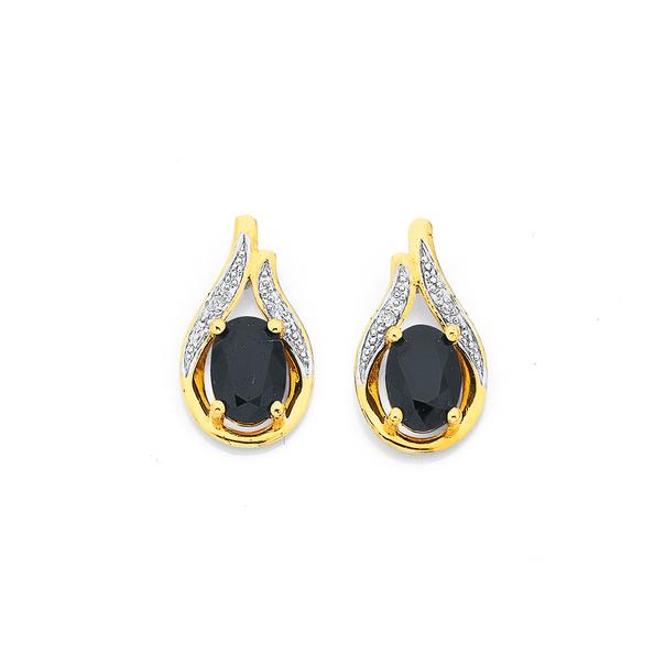 9ct Sapphire & Diamond Earrings