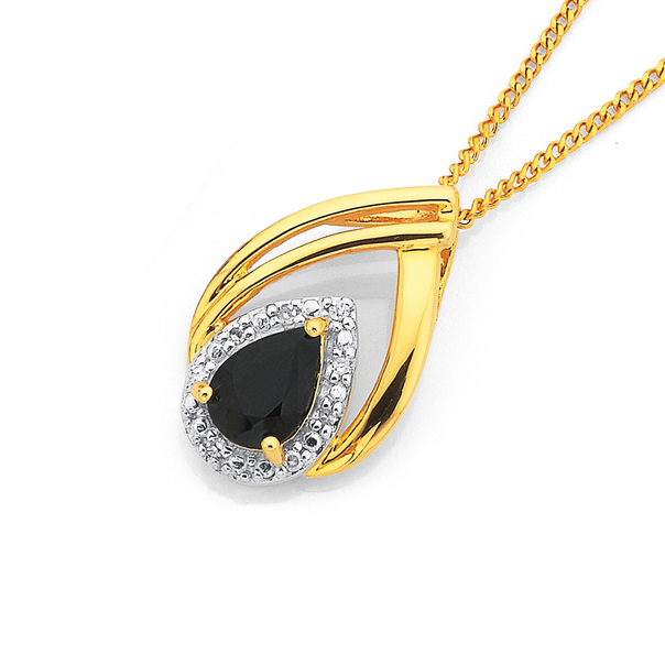 9ct Sapphire & Diamond Pear Pendant
