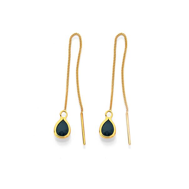 9ct Sapphire Thread Earrings