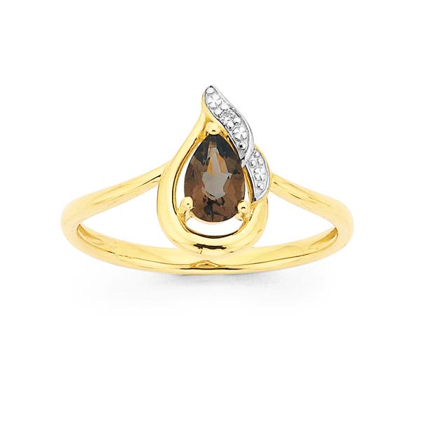 9ct Smokey Quartz & Diamond Ring