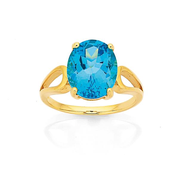 9ct Swiss Blue Topaz Ring