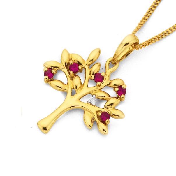 9ct Synthetic Ruby & Diamond Tree of Life Pendant