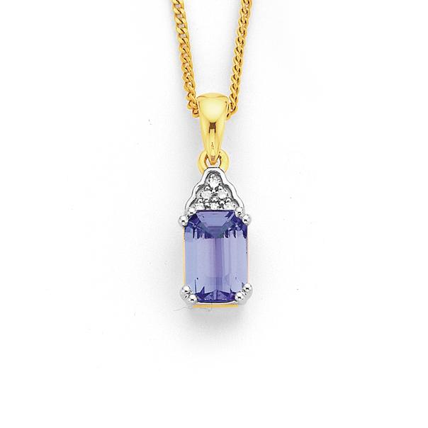 9ct Tanzanite & Diamond Pendant