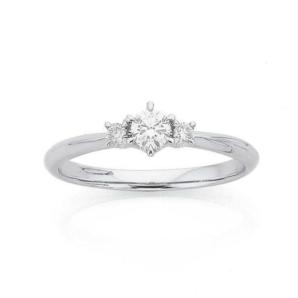 9ct Three Stone White Gold Diamond Ring TDW=.25ct