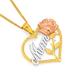 9ct Tri Tone Mum & Rose Heart Pendant