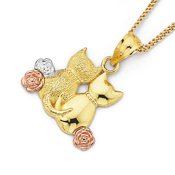 Tri Tone Sitting Cats Pendant in 9ct Yellow Gold