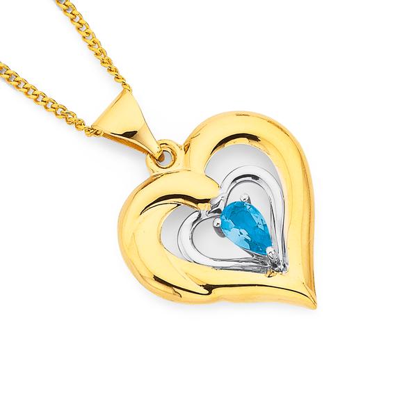 9ct Two Tone Blue Topaz Heart Pendant