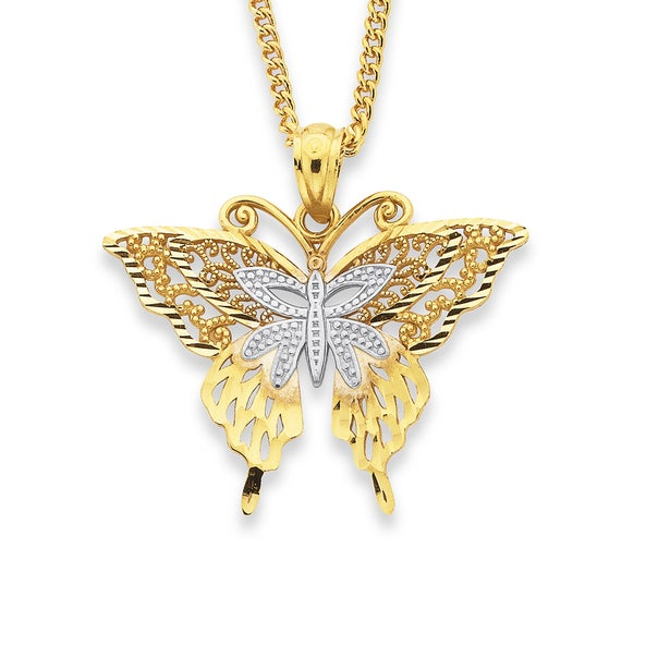 9ct Two Tone Butterfly Pendant