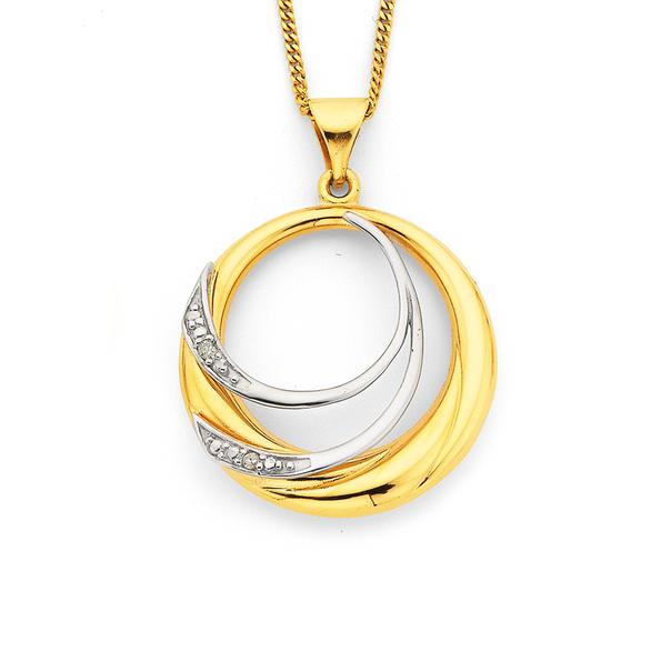 9ct Two Tone Circular Diamond Pendant