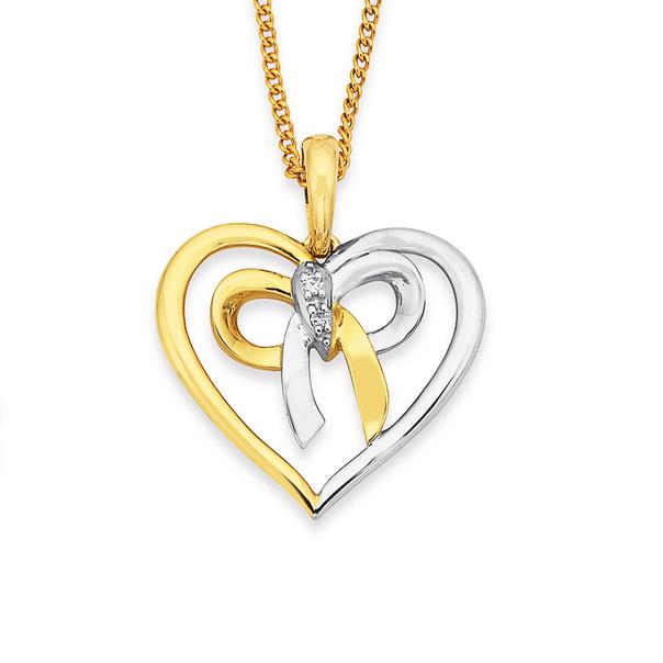 9ct Two Tone Diamond Bow Pendant
