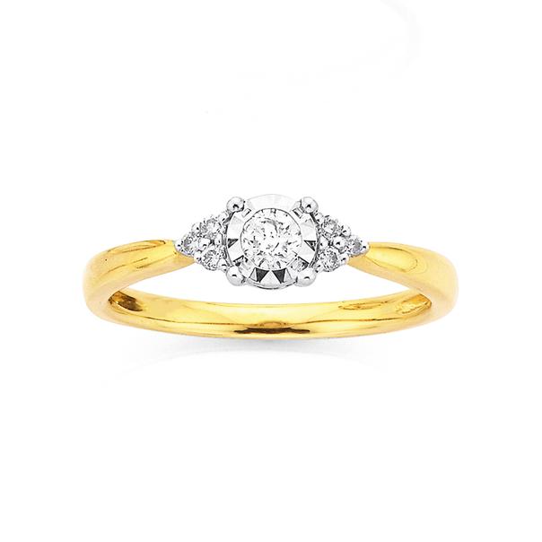 9ct Two Tone Diamond Set Ring