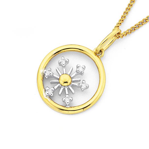 9ct Two Tone Diamond Snowflake Pendant