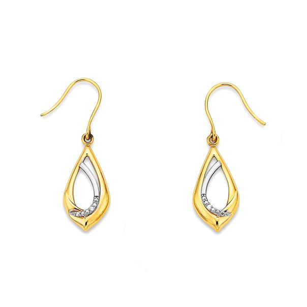 9ct Two Tone Diamond Teardrop Earrings