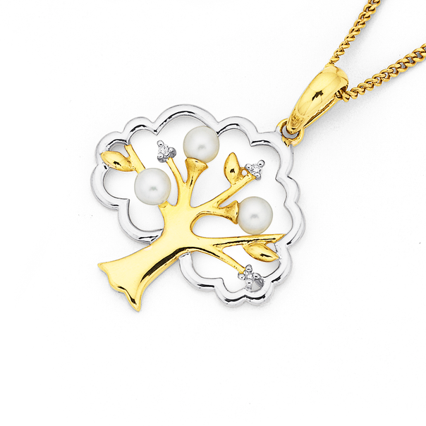 9ct Two Tone Freshwater Pearl & Diamond Tree of Life Pendant