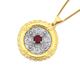 9ct Two Tone Garnet & Diamond Pendant