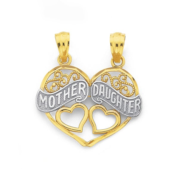 9ct Two Tone 'Mother & Daughter' Share Pendant