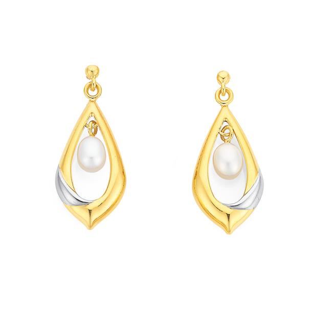 9ct Two Tone Pearl Earrings