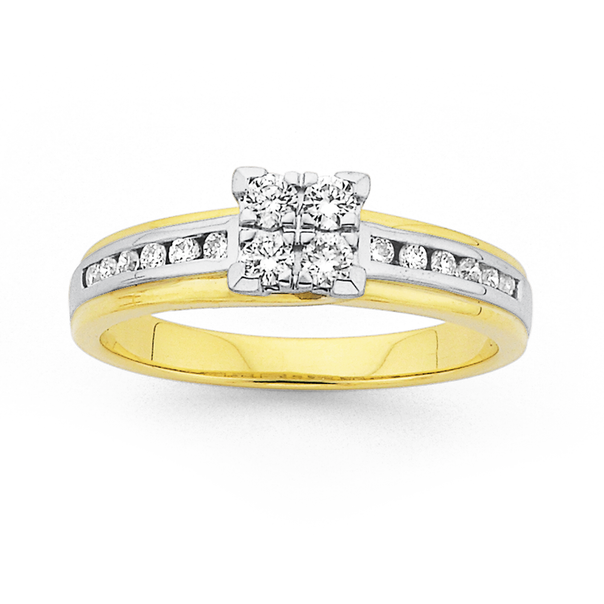 9ct Two Tone Square Cluster Diamond Ring TDW=.34ct
