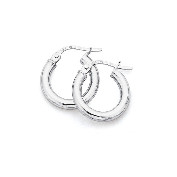 9ct White Gold 15mm Hoops