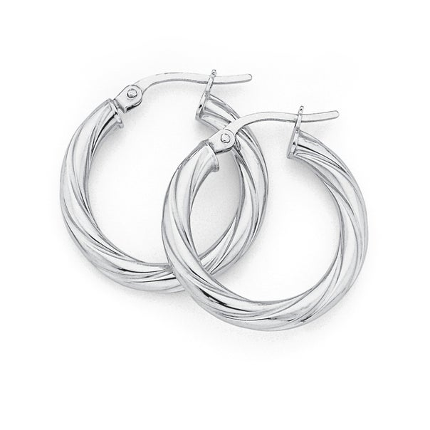 9ct White Gold 21mm Twist Hoops 21mm