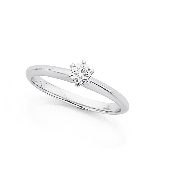 9ct White Gold .25ct Diamond Solitaire Ring